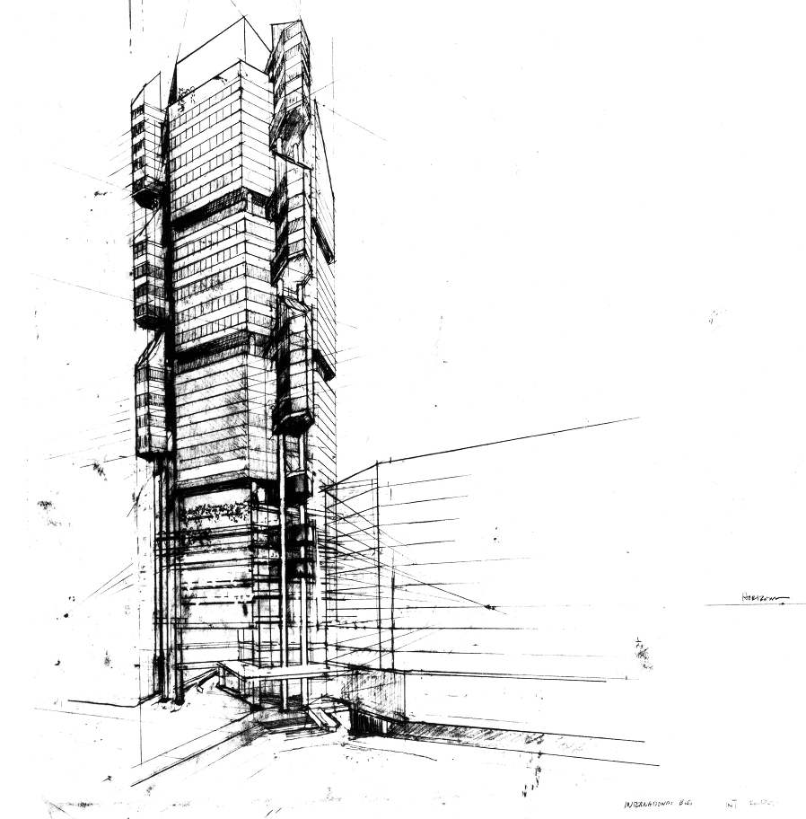 International Building, Singapore. Perspective Sketch.