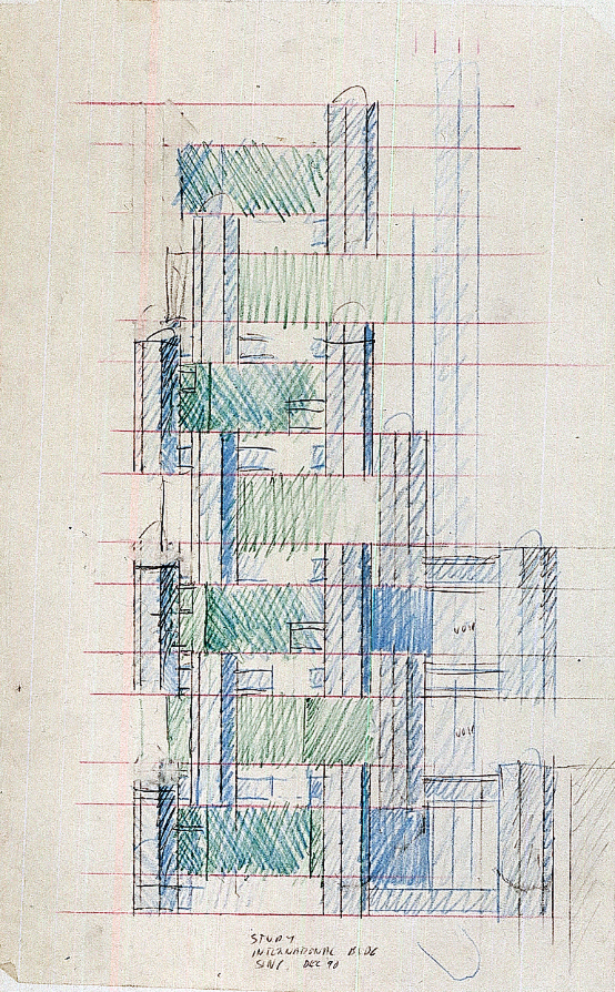 International Building, Singapore. Elevation Sketch.