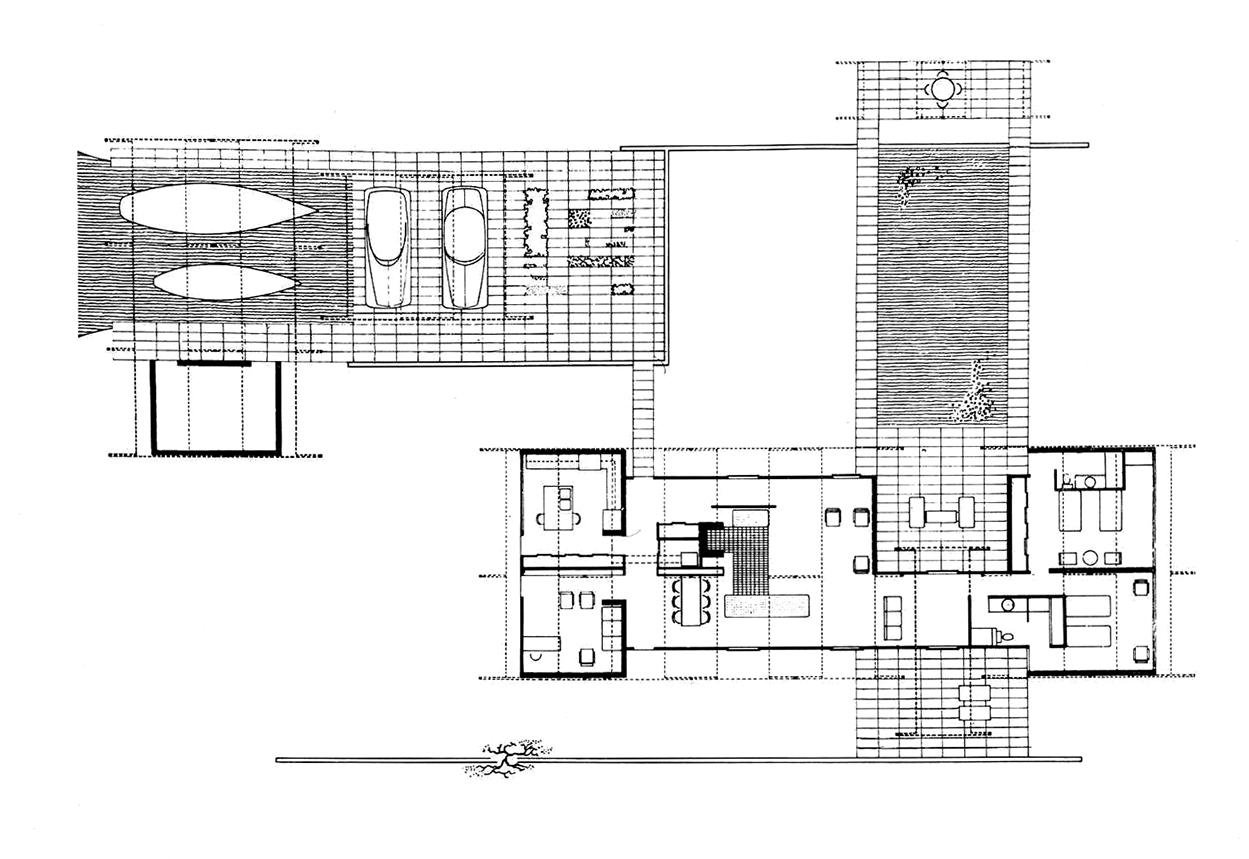 Knott residence, Yankeetown, Florida. Floor Plan.