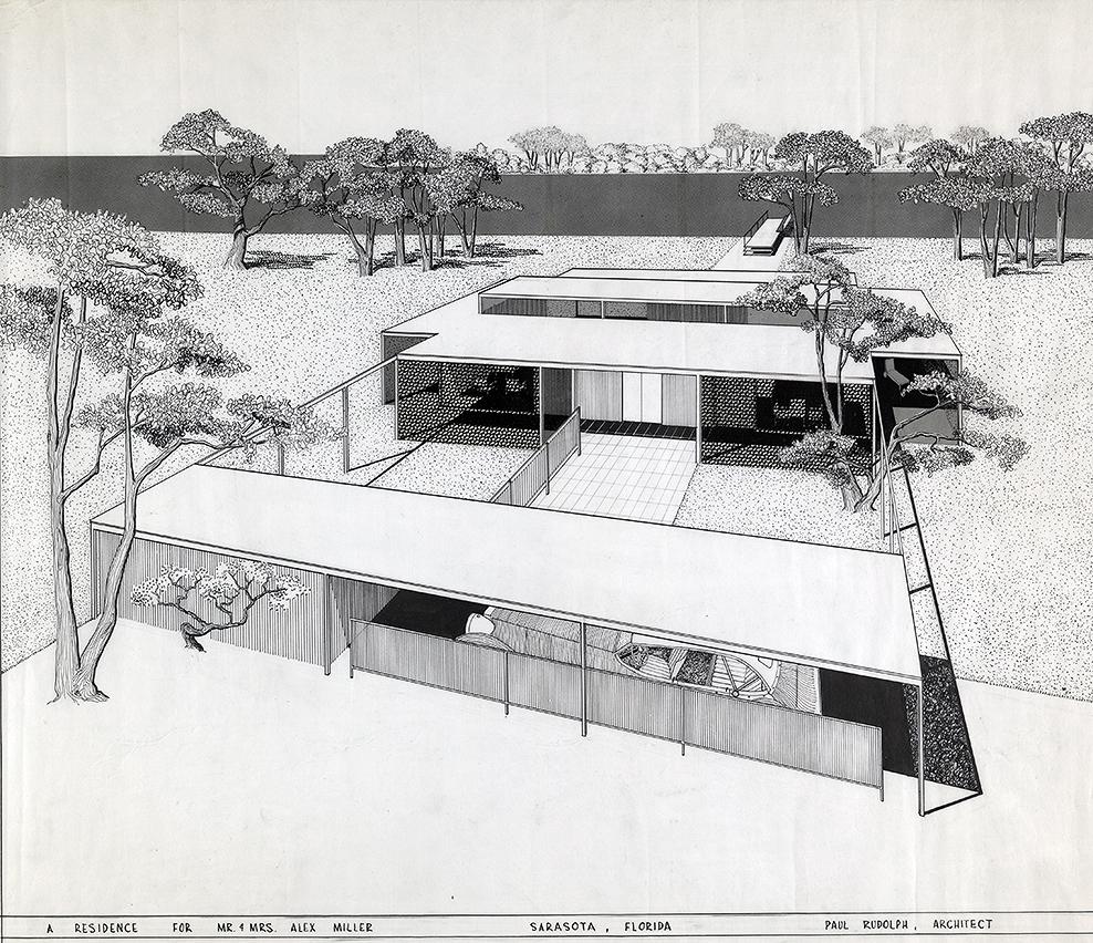 Miller Residence, Sarasota, Florida. Bird's-eye Perspective Rendering.