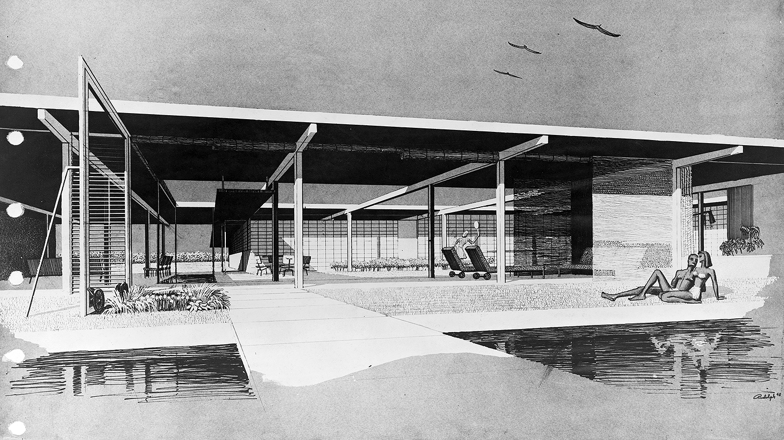 Goar Residence, Sarasota, Florida. Exterior Perspective Rendering.