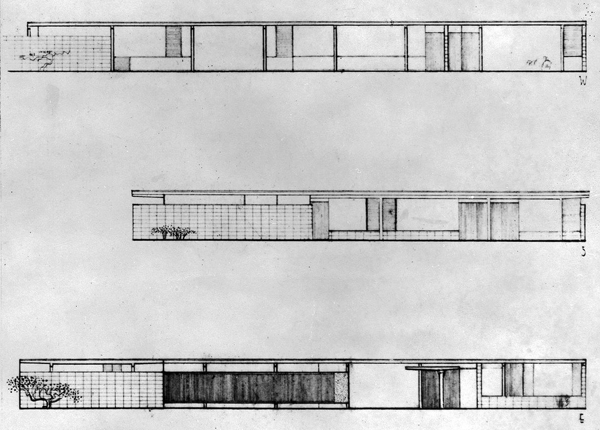 Goar Residence, Sarasota, Florida. Exterior Elevations.