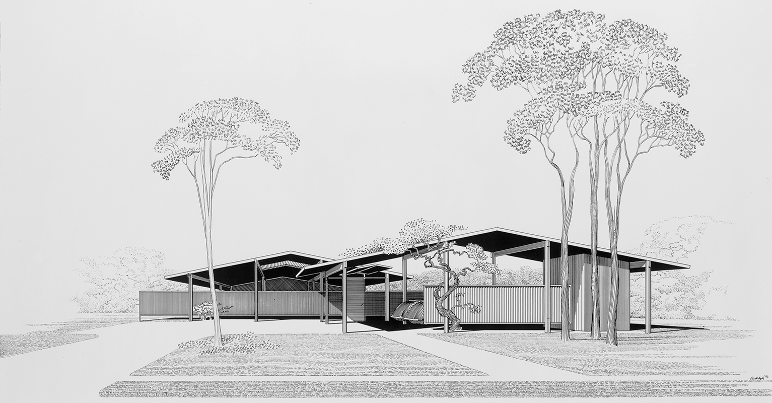 House for Bourne and Company, St. Petersburg, Florida. Exterior Perspective Rendering.