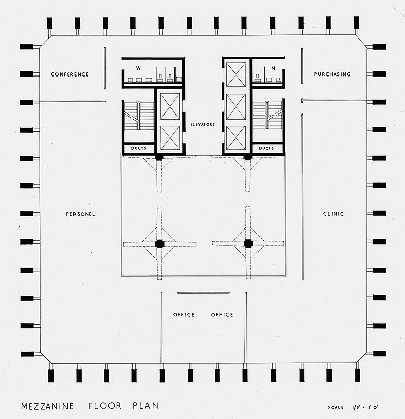 Blue Cross-Blue Shield Headquarters, Boston, Massachusetts. Early Scheme, Mezzanine Plan.
