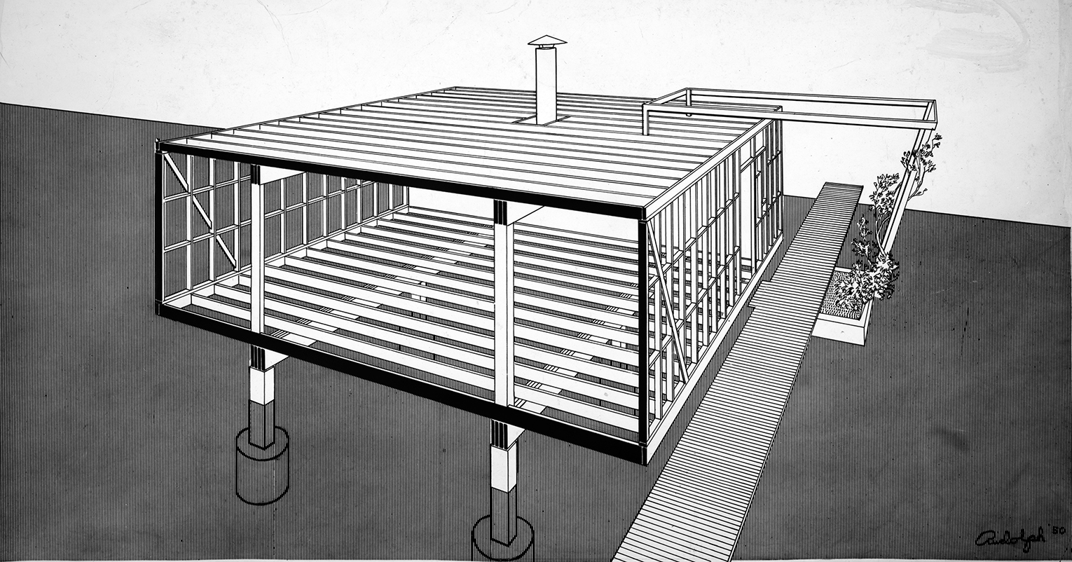 Miller Guest House, Casey Key, Florida. Perspective Rendering of Framing System.