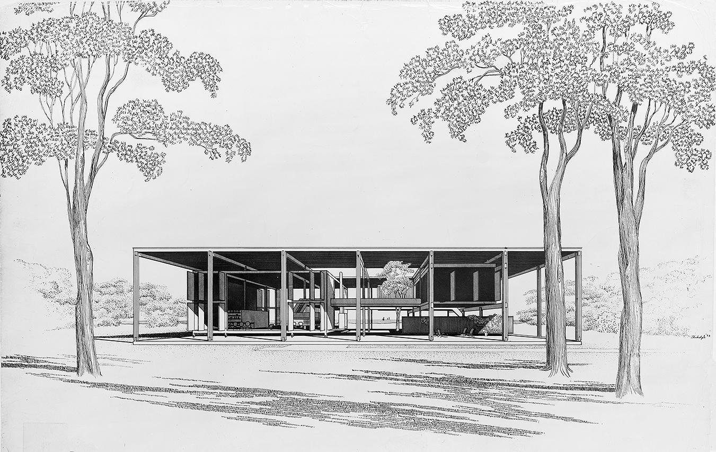 Burgess Residence, Burgess Island (Sarasota), Florida. Exterior Perspective Rendering.