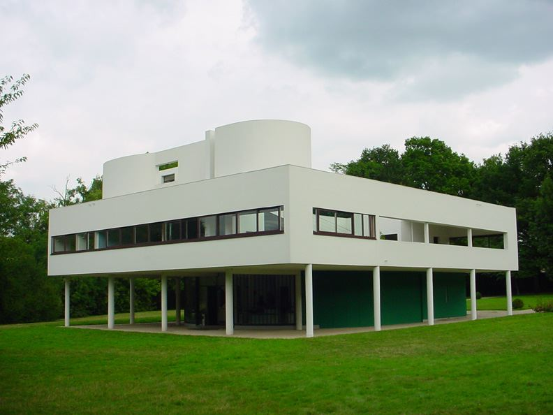 The Villa Savoye, in Poissy, on he outskirts of Paris. Design work was begun by Le Corbusier in 1928, and the building was completed in 1931. Source: Wikipedia