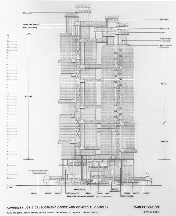 Bond Centre (now Lippo Centre), Hong Kong, China. Early Scheme, Elevations.