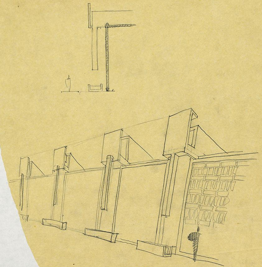 Payne Whitney Gymnasium Addition, Yale University, New Haven, Connecticut. Exterior Elevation Sketch.