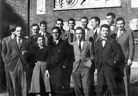 Paul Rudolph (front-row, at the far right) and his classmates at Harvard.    Photo: Paul Rudolph Heritage Foundation