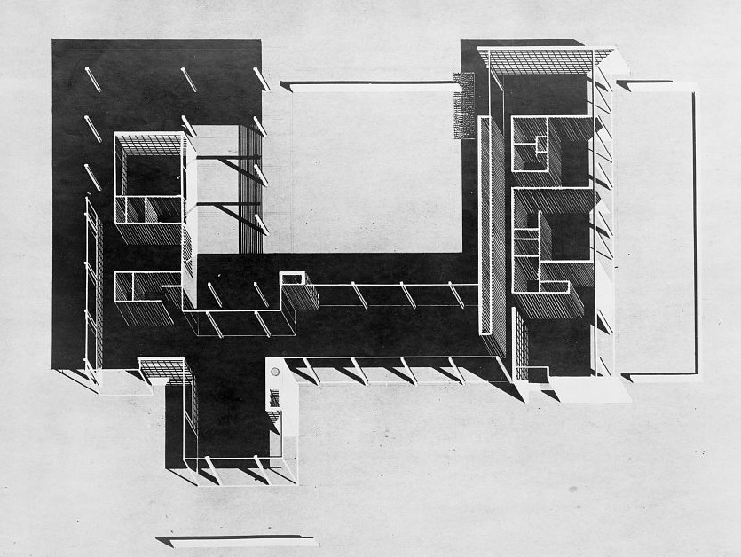 Axonometric drawing (circa 1946) by Paul Rudolph. Denman Residence, Siesta Kay, Florida.    Courtesy of the Paul Rudolph Archive within the Library of Congress Prints and Photographs