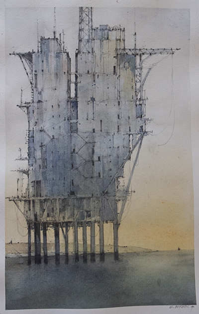 Water Land: Tower Rig II, a watercolor by C. Errol Barron. Image: courtesy of C. Errol Barron
