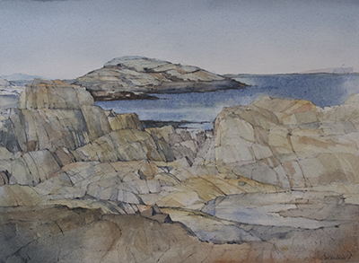 Water Land: Babb's Rock, a watercolor by C. Errol Barron. Image: courtesy of C. Errol Barron