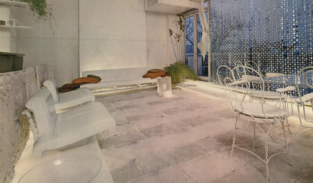 An article in the May, 1967 issue of Progressive Architecture magazine focused on innovative interiors—including Paul Rudolph's floor-through apartment in a townhouse near the UN. In this view of the living room, the sofa back---made of a series of Sullivan panels—can be seen on the far left. Image: Courtesy of USModernist Library