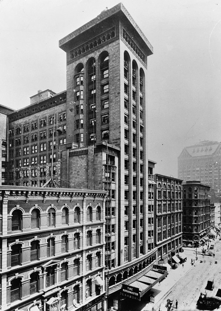 "The Schiller Theater Building (later known as the Garrick) was designed by Louis Sullivan and Dankmar Adler of the firm Adler & Sullivan. Our ""Sullivan panel"" was part of the ornament of the theater's proscenium arch. Image: Historic American Buildings Survey copy of a photograph taken circa 1900, Library of Congress Prints and Photographs Division."