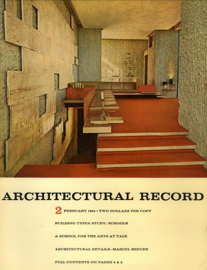 The Yale Art & Architecture Building—Paul Rudolph's most famous design, and an icon of Modern architecture—was featured in Architectural Record's February 1964 issue. The cover shows one of the interiors in which, as with many of the building's other spaces, Rudolph had incorporated vintage ornament, fragments, and objects.   Image: Courtesy of USModernist Library.