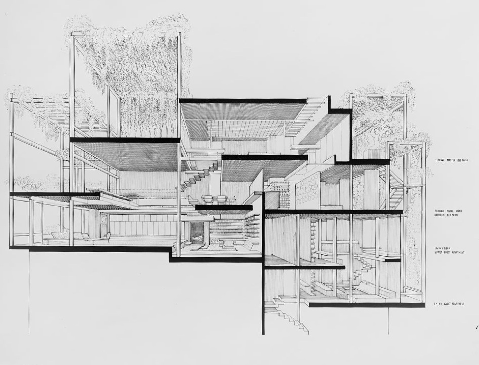 "Paul Rudolph's section-perspective of his Beekman Place ""Quadruplex"" apartment. In this longitudinal section, looking South, one can see the Sullivan panel at the lower-left. Image: Paul Rudolph Archive, Library of Congress – Prints and Photographs Division"