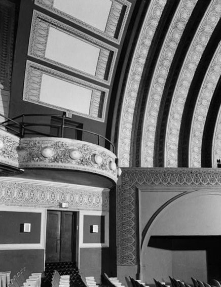 "This view, of the theater's interior, shows that Sullivan used a variety of cast plaster ornament. The proscenium's design (seen at the upper-right) is composed of a series of recessing, concentric arches, and one can see that those arches are lined by repeated castings of our ""Sullivan panel."" Image: Historic American Buildings Survey copy of a photograph taken circa 1900, Library of Congress Prints and Photographs Division"
