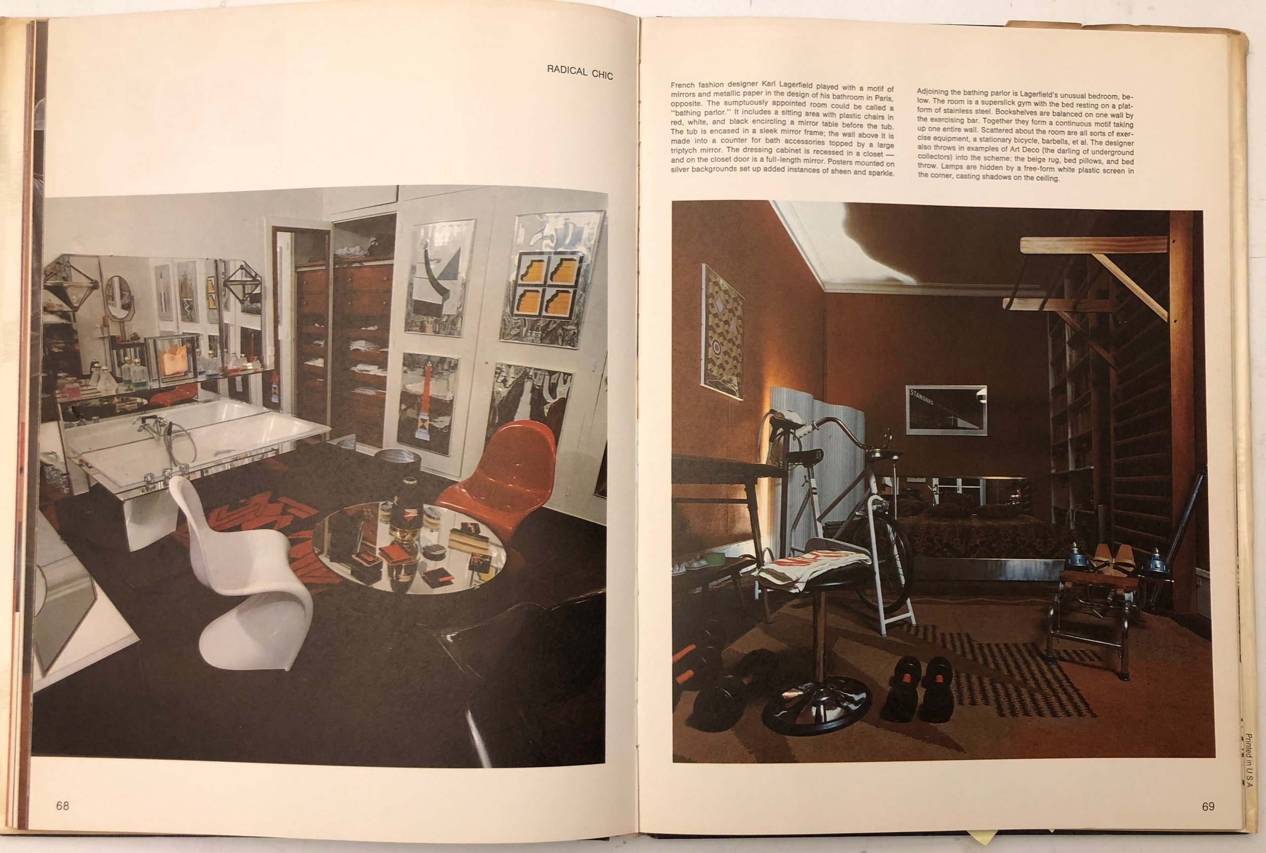 A spread from the book, showing Karl Lagerfeld's combination bath-sitting room, and gym-bedroom, for his Paris apartment.