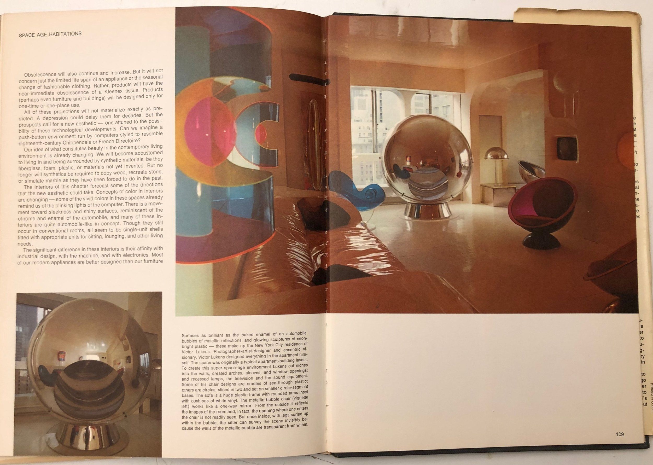 "A spread from the ""Space Age Habitations"" section of the book, showing the home Victor Lukens designed for himself."