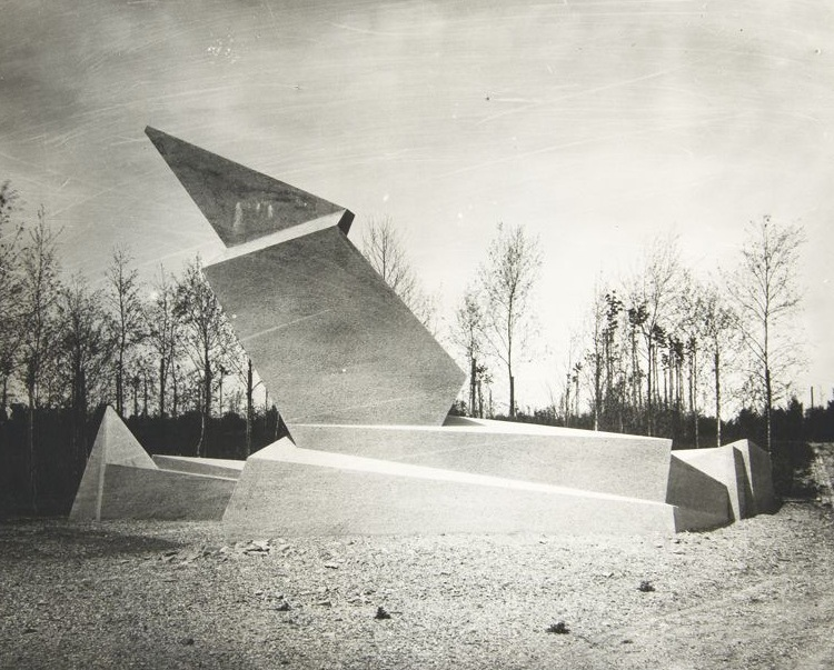 The Monument to the March Dead (Denkmal für die Märzgefallenen), in Weimar, Germany, designed by Walter Gropius. Conceived and constructed at the beginning of the 1920's, it is an example of Gropius' early Expressionist phase—a mode he'd abandon as a more austere style, associated with later years of the Bauhaus, emerged.