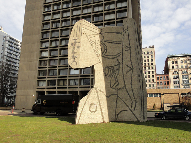 "Picasso's ""Bust of Sylvette"" sculpture in New York City's Greenwich Village. Image courtesy of    Art Nerd New York"