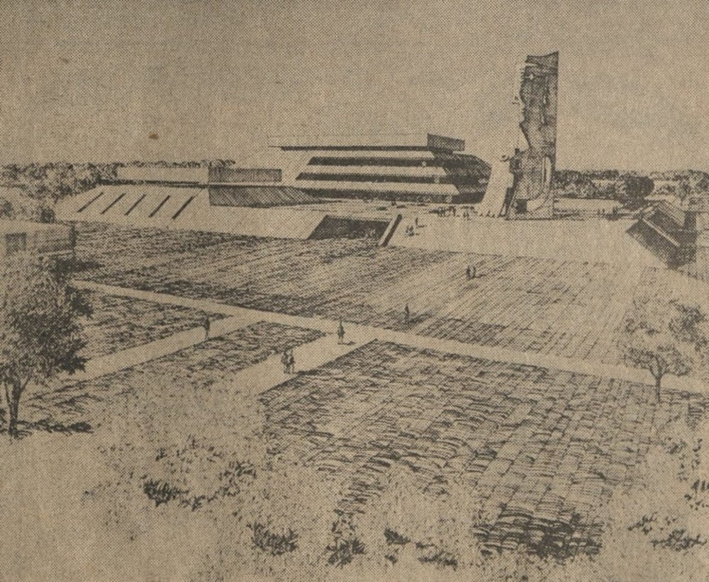 Rendering of the proposed visitors and arts center for the University of South Florida in Tampa. Picasso's sculpture, which was to sit on the adjacent plaza, would have been a massive presence. Image courtesy of the USF Special Collection Library