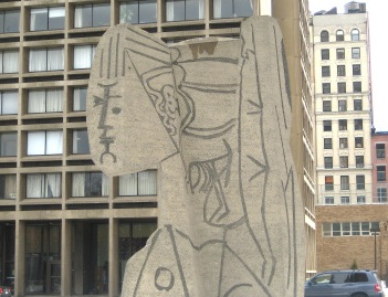 "Picasso's Sylvette, in the midst of the I.M. Pei's ""Silver Towers"" in NYC's Greenwich Village. Image courtesy of    Ephemeral New York"