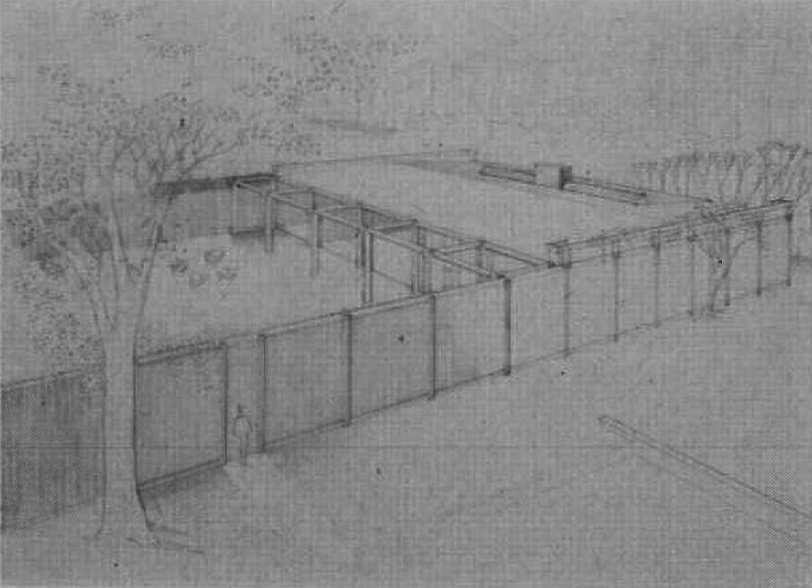 McCandlish Residence, Cambridge, Massachusetts.  Bird's-eye Perspective Rendering.