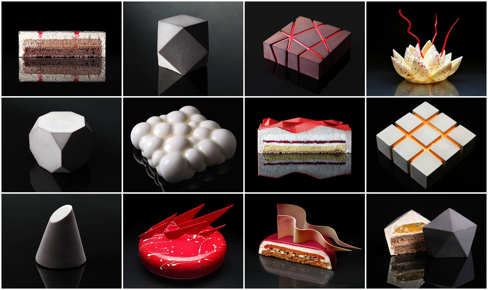 Some of the architectonically delicious creations of architect-turned-pastry-chef    Dinara Kasko   . Image courtesy of Dinara Kasko Pastry Art.