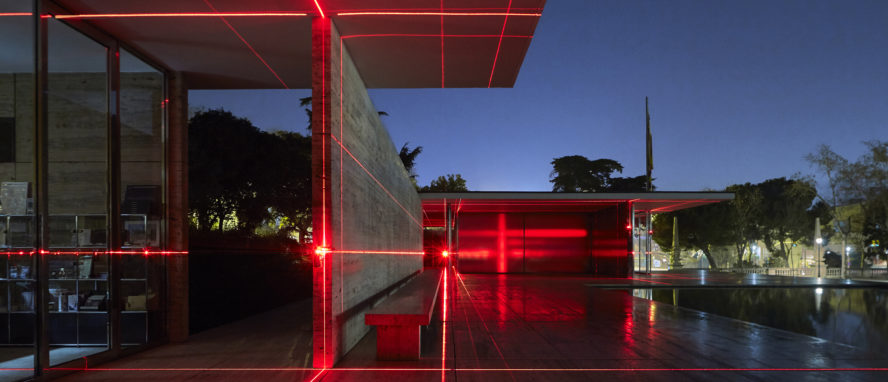 Geometry of Light    installation, at the Barcelona Pavilion. View across the elevated plinth, towards the main body of the building. Photograph by    Kate Joyce