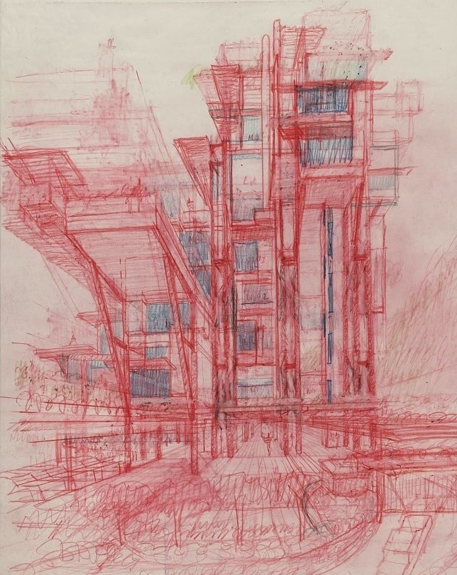 "Paul Rudolph's sketch for the Plantation Road Triplex project in Hong Kong, color pencil on vellum, 1995—a project he was working on towards the end of his half-century career. This perspective sketch (which one observer characterized as ""Metabolist"") includes vertical and diagonal structure, multiple levels, and supported as well as cantilevered elements—and shows one of the series of different approaches that Rudolph explored while developing his ideas for this project. Image © The Estate of Paul Rudolph, The Paul Rudolph Heritage Foundation."