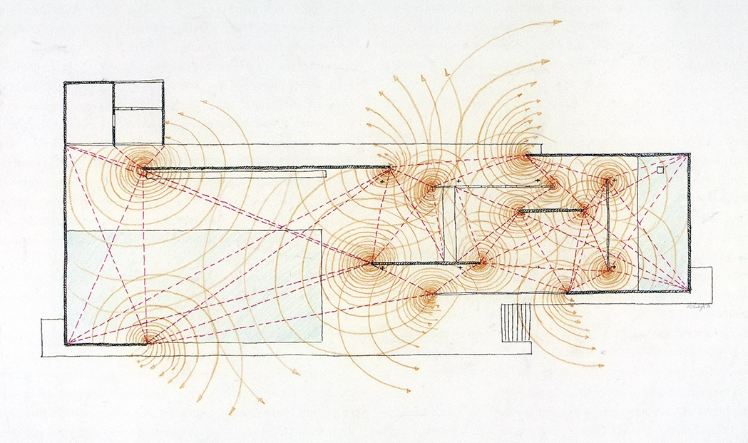 One of the series of drawings made by Paul Rudolph, analyzing Mies' Barcelona Pavilion. The full set of drawings (and a discussion of the Barcelona Pavilion) are in    Paul Rudolph: The Late Work   . Image © The Estate of Paul Rudolph, The Paul Rudolph Heritage Foundation.