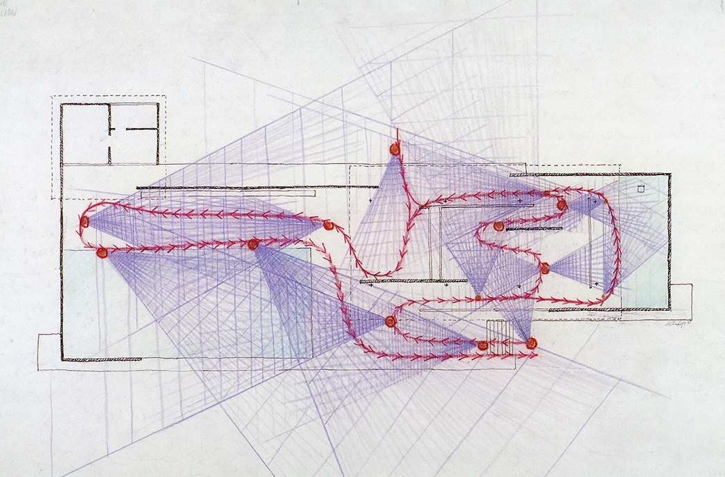 Another of Rudolph's drawings, analyzing the Barcelona Pavilion. Image © The Estate of Paul Rudolph, The Paul Rudolph Heritage Foundation.