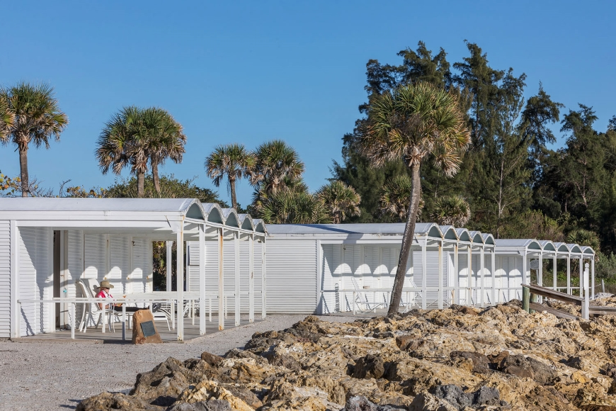 Sanderling Beach Club, Siesta Key, Florida.  Photo of the Building Exterior taken on February 28, 2019.