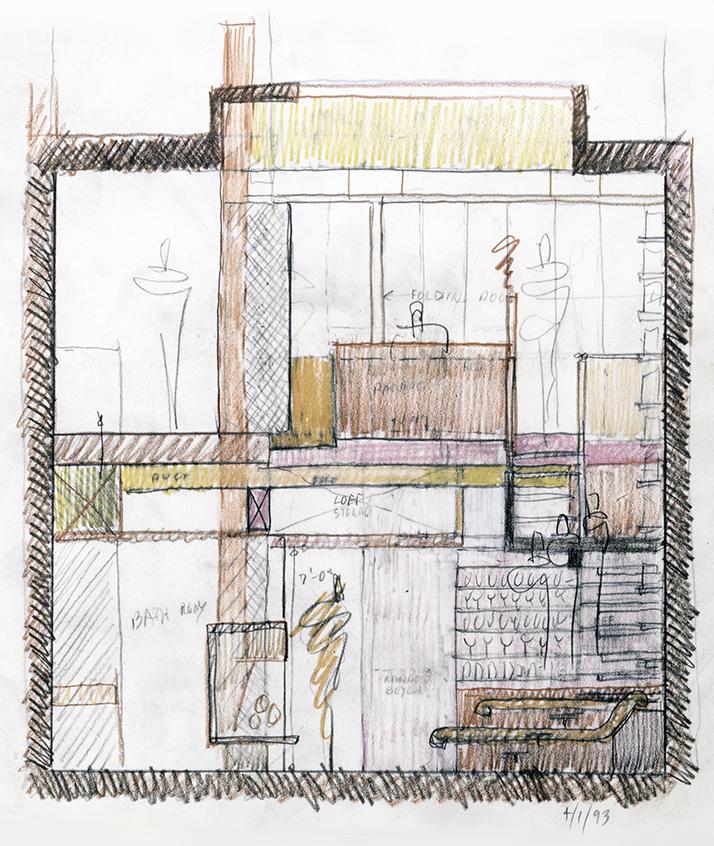 Modulightor, Inc., 246 East 58th St., New York City. Section Sketch thru Duplex Apartment.