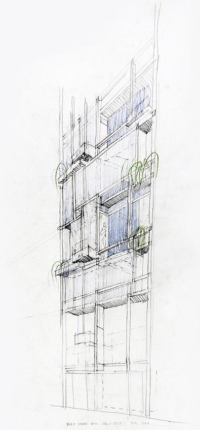 Modulightor, Inc., 246 East 58th St., New York City. Building North Facade Study.