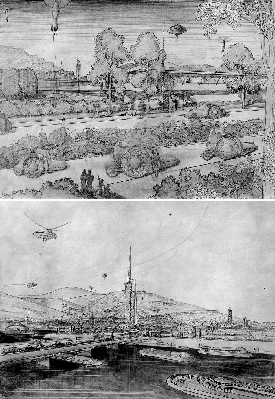 A comprehensive designer is interested in (and interested in designing) Everything! Here are two scenes from Frank Lloyd Wright's Broadacre City proposal—these showing examples of his flying saucer-esque personal helicopters, as well as his curious and intriguing designs for various types of roadsters and ships. Image    courtesy of Wikipedia   .