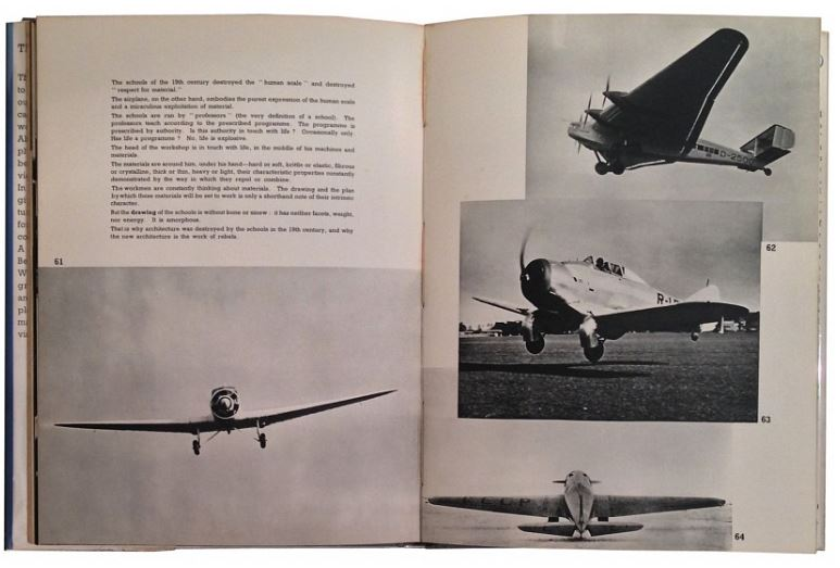 "Le Corbusier even write a whole book expressing his delight in flight and aircraft—and used them as a symbol for forward-looking thought as well as aesthetics. His book, ""Aircraft"" came out in 1935, Image courtesy of    Irving Zucker Art Books."