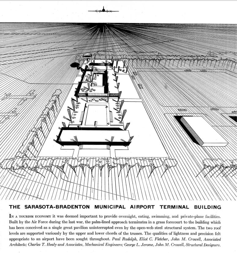 An aerial view of the proposed terminal (dramatically drawn in 3 point perspective—a rare technique for Rudolph, or any architect). In this rendering, originally published in Architectural Record, the roof is lifted off in order to reveal the various functional areas of the building. Toward the front is a rather sizable swimming pool (as signaled by the diving board)—a nearly-unknown feature for any airport (but one that might have fit unusually well for this building's Florida setting). Image © The Estate of Paul Rudolph, The Paul Rudolph Heritage Foundation.