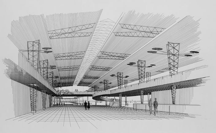 Rudolph's rendering of the inside of the main concourse. The double-height space is supported by the kind of trussed structures whose forms were associated with airplane construction—-the high-tech of its time. Yet there are pure architectural grace-notes, like the grand spiraling stair seen at the far-right end of the space, which connects the main floor with the upper galleries. Image © The Estate of Paul Rudolph, The Paul Rudolph Heritage Foundation.