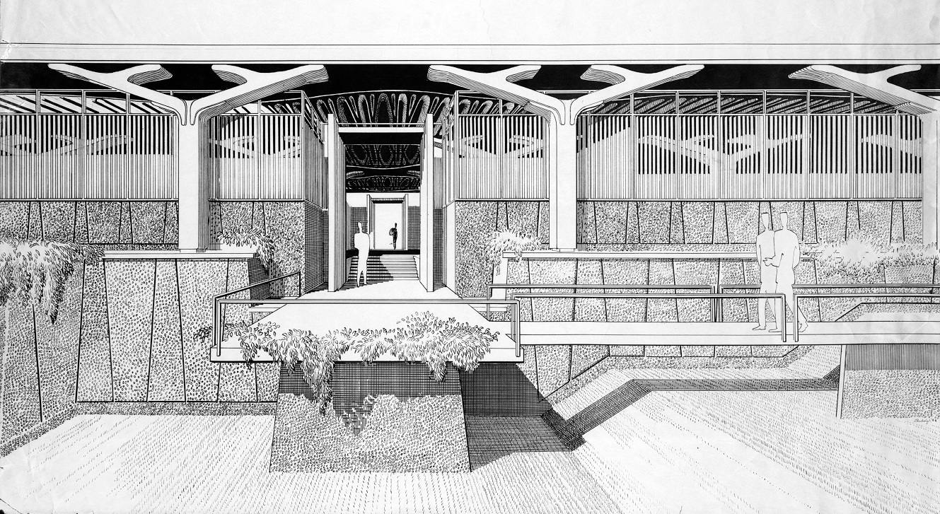 Paul Rudolph's rendering for the    Greeley Memorial Laboratory for the Yale Forestry School—   a building, on the Yale Campus, which he designed within a couple of years of his proposal for the Florida airport. While the columns at Greeley were of precast concrete    (with mathematically-derived sculptural curves)   , their overall silhouette is reminiscent of the tops of the columns at for the airport—so might it be that the airport terminal project was where those forms germinated? Image © The Estate of Paul Rudolph, The Paul Rudolph Heritage Foundation.