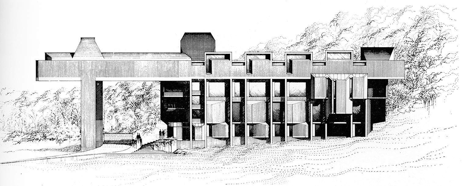 Creative Arts Center (Dana Arts Center), Colgate University, Hamilton, New York. Elevation Rendering.