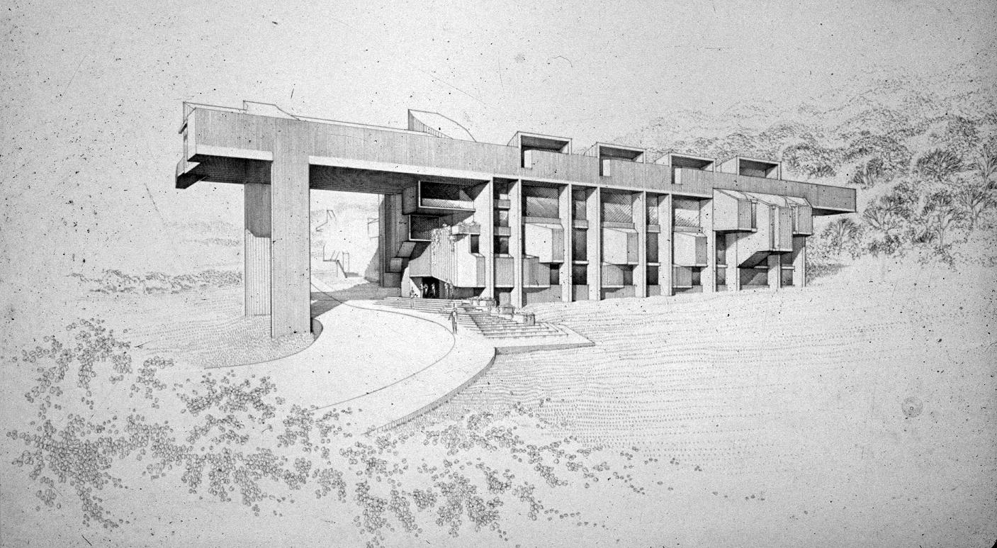 Creative Arts Center (Dana Arts Center), Colgate University, Hamilton, New York. Perspective Rendering.  Dated April, 1964.