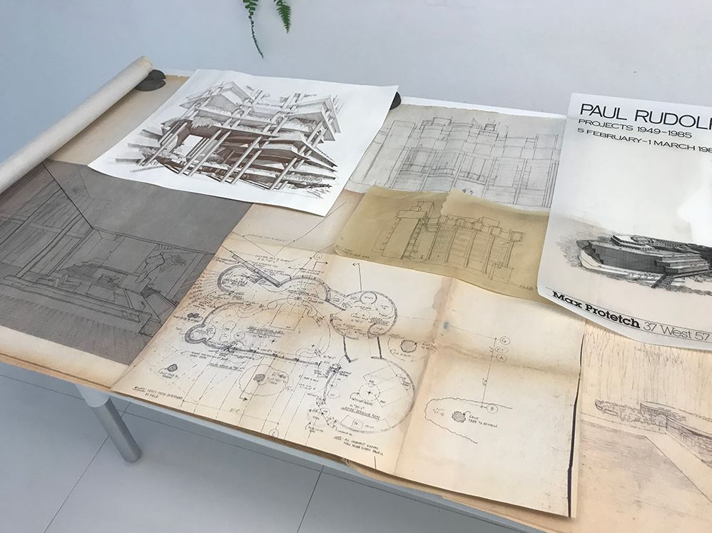 Some of the Paul Rudolph drawings and documents donated by R.D. Chin to the Paul Rudolph Heritage Foundation. At the top-left is a rendering of the base of the Wisma Dharmala Tower in Jakarta; at the top-center are two sketches for the Yale Art & Architecture Building; at the top-right is a poster for an exhibit of Rudolph drawings that took place at the Max Protetch Gallery; at the bottom right and center are drawings for the Edersheim guest facilities, and at the bottom-left is a perspective rendering of an interior in the LIcht Residence. Photo: Kelvin Dickinson, for the Paul Rudolph Heritage Foundation