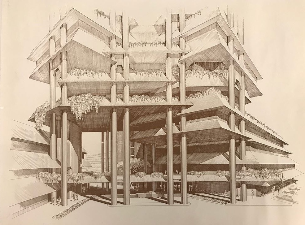 One of the donations was a high-quality print of Rudolph's detailed perspective rendering for the base and lower floors of the    Wisma Dharmala Tower    in Jakarta. Photo of drawing by Kelvin Dickinson, for the Paul Rudolph Heritage Foundation