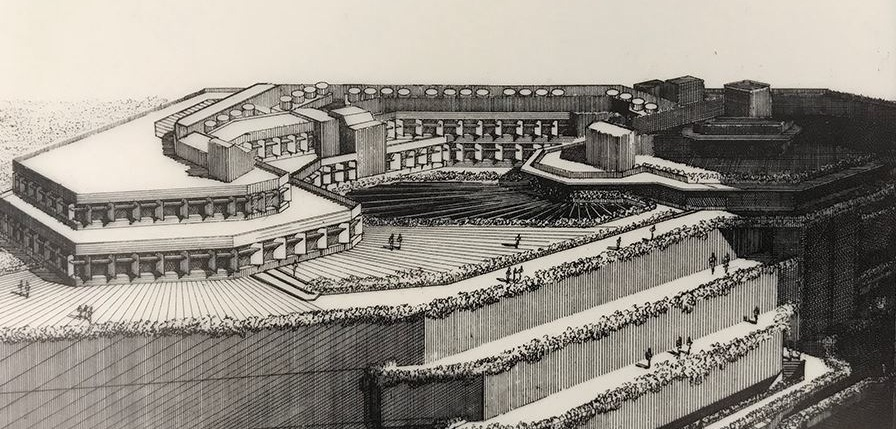 The donation included a print of a rendering of the    Concourse in Singapore   , a project of the late 1970's/early 80's. The print is the highest-resolution version we'd ever seen of that perspective drawing, and this is a detail from it. Photo of drawing by Kelvin Dickinson, for the Paul Rudolph Heritage Foundation