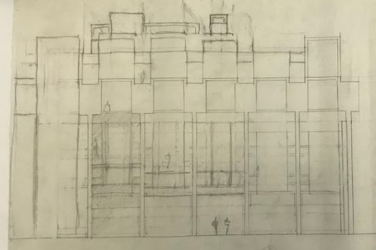 A preliminary sketch, pencil on tracing paper, for an exterior elevation of Paul Rudolph's most famous work: the    Yale Art & Architecture Building    (now known as Rudolph Hall). Photo of drawing by Kelvin Dickinson, for the Paul Rudolph Heritage Foundation