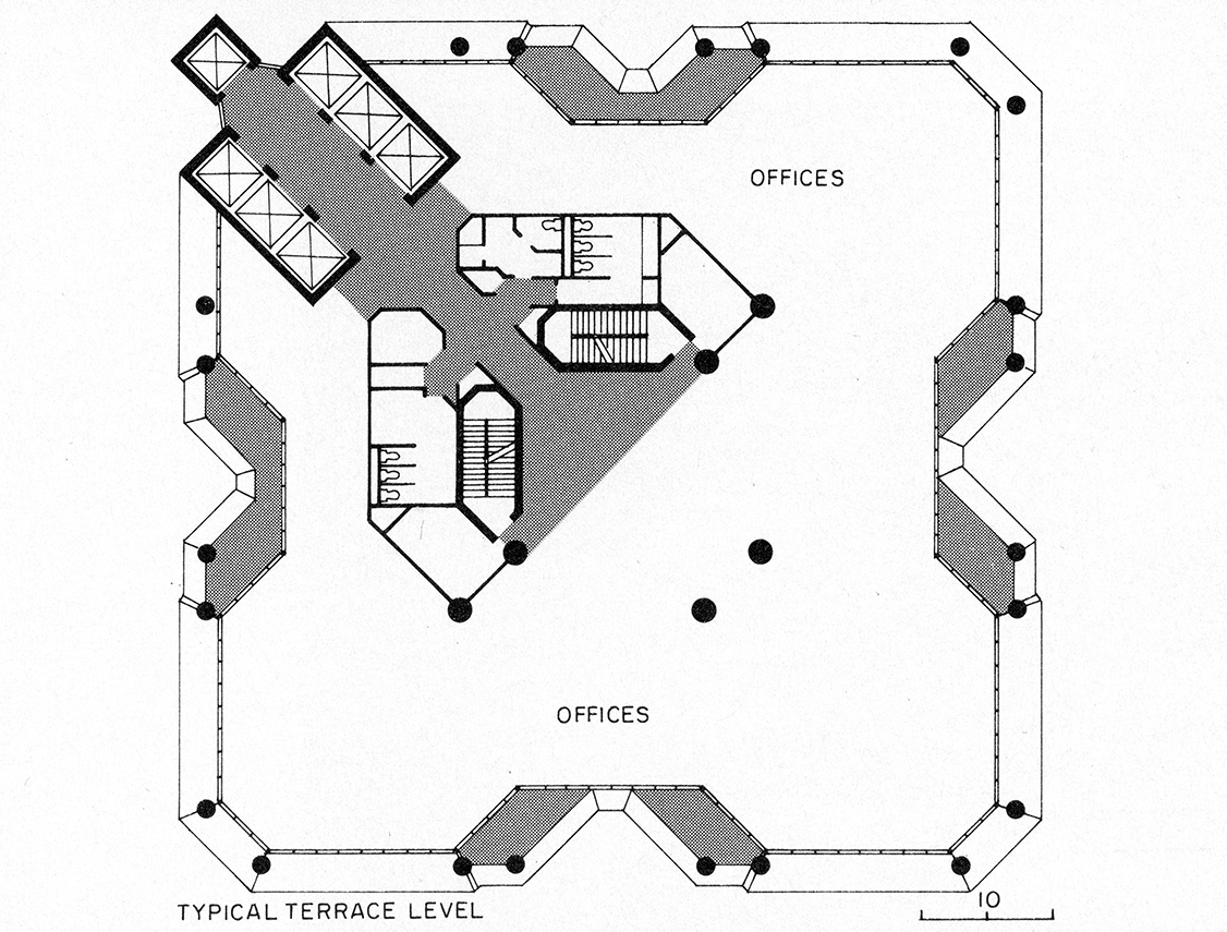 Wisma Dharmala Building, Jakarta, Indonesia. Typical Floor Plan, Terrace Level.