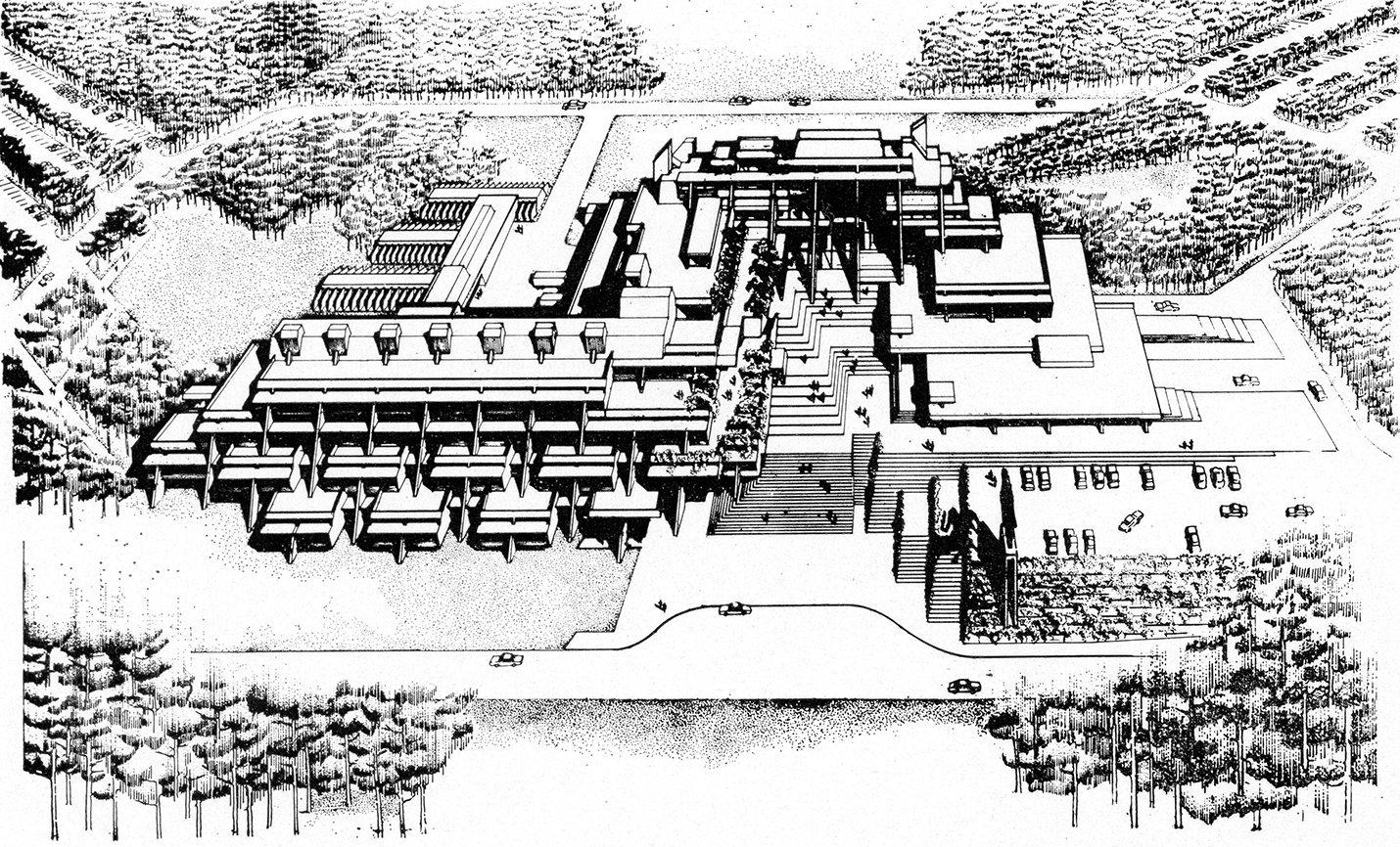 Burroughs Wellcome Company, Research Triangle Park, North Carolina. Early Scheme Aerial Perspective Rendering.